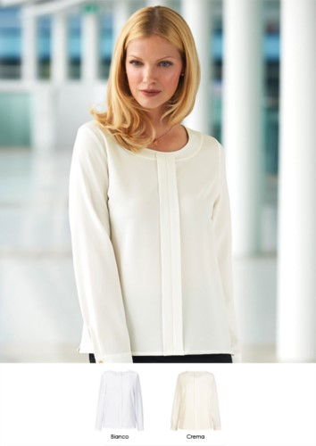 Polyester and elastane shirt, with rear zip, available in white and cream. Ideal for receptionists, hostesses, hoteliers.