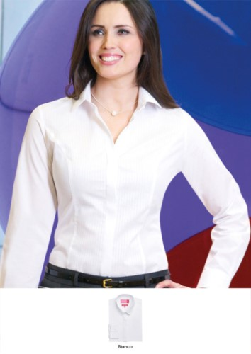 Polyester, cotton and elastane shirt in easy iron fabric. Ideal for receptionists, hostesses, hoteliers. Request a free quote