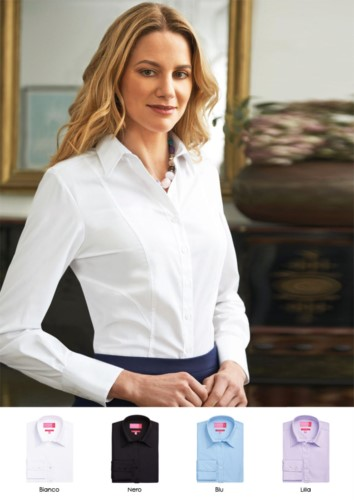 Women's polyester and cotton shirt with easy iron fabric. Ideal for elegant workwear, for receptionists, hostesses, hoteliers.
