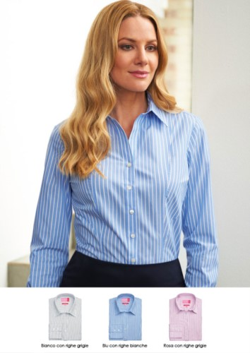 Polyester and cotton shirt in easy iron fabric. Ideal for receptionists, hostesses, hoteliers. Wholesale. Get a free quote.
