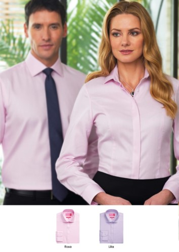 Shirt 100% cotton with button up collar. Available in pink and lilac. Wholesale. Get a free quote.