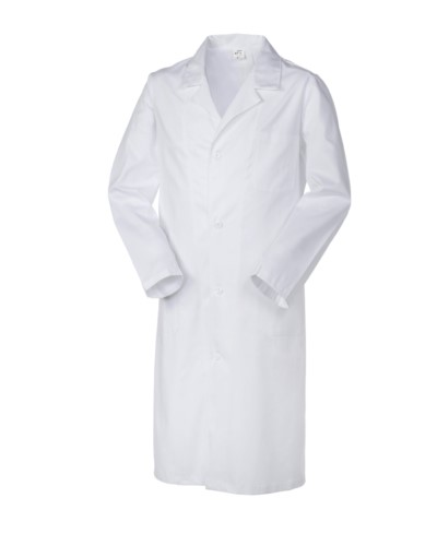 Man medical coat, button closure, open collar, two pockets and one small pocket, back slit, thread stitching, color white