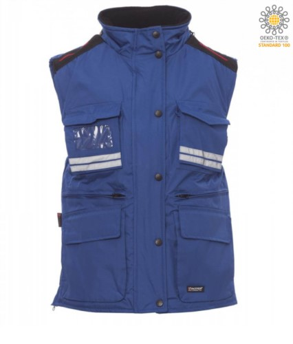 Women multi-pocket vest, plastic zip with metal slider, side vents, color royal blue