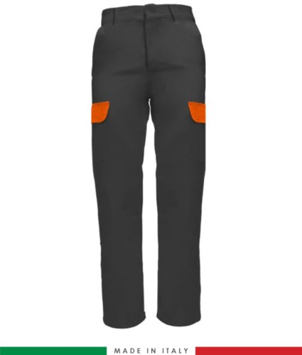 Multi-pocket two-tone work trousers, contrasting profiles, two front pockets, one back pocket, made in Italy, colour grey orange