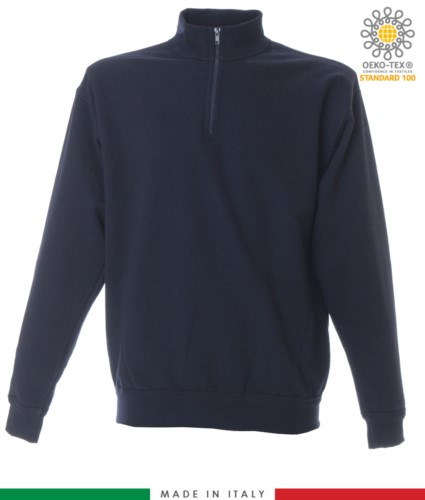 Short zip sweatshirt, ribbed neck, ribbed cuffs and hem, made in Italy, color navy blue