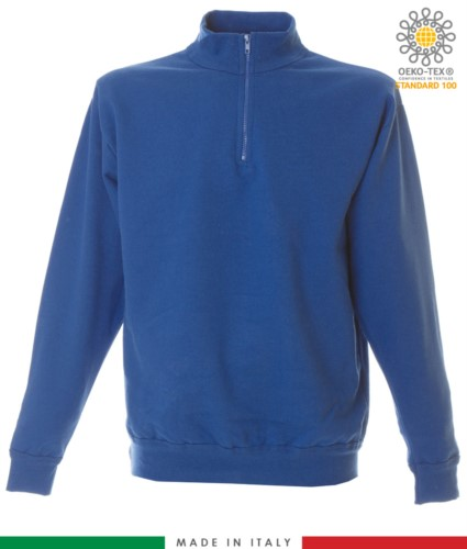 Short zip sweatshirt, ribbed neck, ribbed cuffs and hem, made in Italy, color royal blue