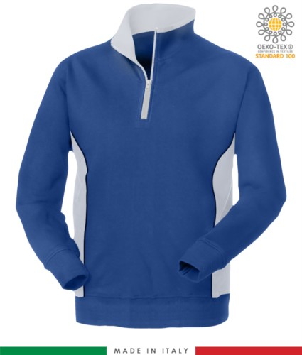 Promotional sweatshirt for work with turtleneck color royal blue with white details