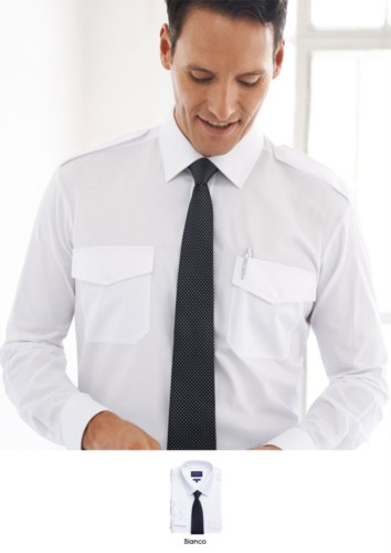 Men long sleeved shirt in polyester and cotton, fabric with easy iron features. Ideal for uniforms of porter, hotel, receptionist.