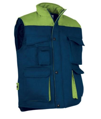 Polyester and cotton multi-pocket work vest, polyester padding. Navy blue / light green colour