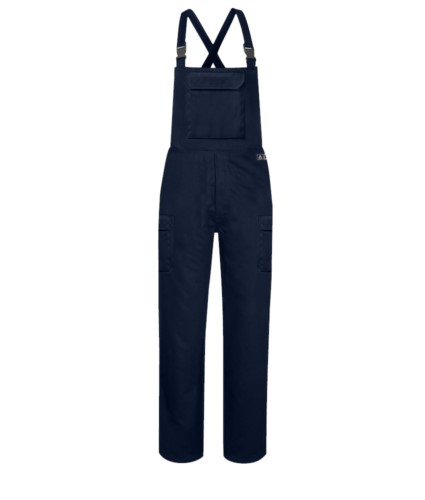 Multipro bib and brace overalls, adjustable suspenders, central pocket, certified EN 11611, EN 1149-5, EN 13034, CEI EN 61482-1-2:2008, EN 11612:2009, colour blue