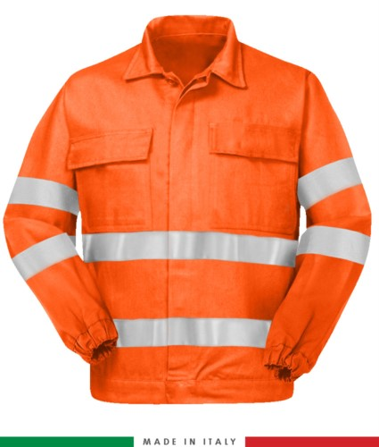 Multipro jacket, elastic cuffs, double reflective band on chest and sleeves, two chest pockets, certified EN 20471, EN 1149-5, EN 13034, UNI EN 531:97, color orange