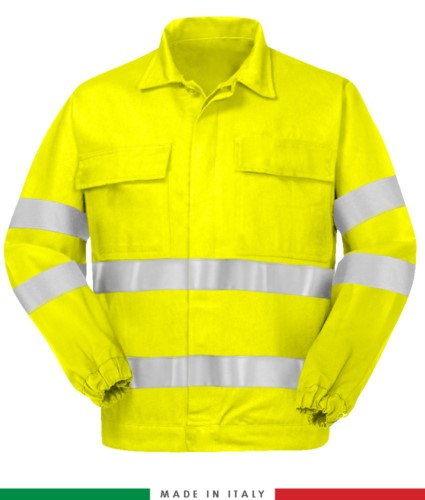 Multipro jacket, elastic cuffs, double reflective band on chest and sleeves, two chest pockets, certified EN 20471, EN 1149-5, EN 13034, UNI EN 531:97, color yellow