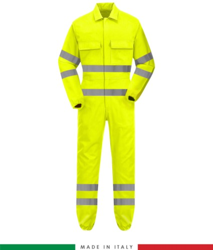 Multipro coverall elasticated cuffs, elasticated waist, two chest pockets, double bands on waist, bottom leg and sleeves, Made in Italy, certified EN 20471, EN 11611, EN 1149-5, EN 13034, CEI EN 61482-1-2:2008, EN 11612:2009, colour yellow