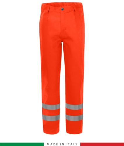 Multipro trousers, welt pockets and two back pockets, double band at hem, Made in Italy, certified EN 20471, EN 11611, EN 1149-5, EN 13034, CEI EN 61482-1-2:2008, EN 11612:2009, colour orange