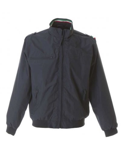 Nylon taslon jacket with three-coloured profile, one chest pocket with zip, two external pockets with zip, one internal pocket, elasticated knit cuffs and band, color blue