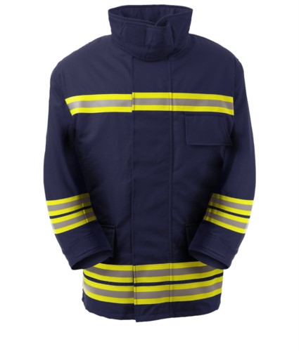 Fireproof jacket, radio pocket, front zip, knitted cuffs, collar adaptable to the helmet, navy blue. EN 469 certified