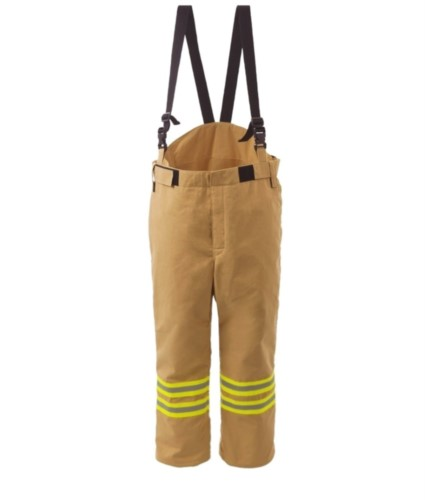 Fire pants, lined and waterproof, elasticated waist, front closure with velcro, gold color. EN 469 certified