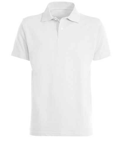 Short sleeved polo shirt, closed collar, double stitching on shoulders and armholes, vents at the bottom, reinforcement on the back of the neck, colour white