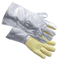 Approach gloves, palm in para-aramid, length 35 cm, silver colour, certified: EN 388, EN 407, EN 420