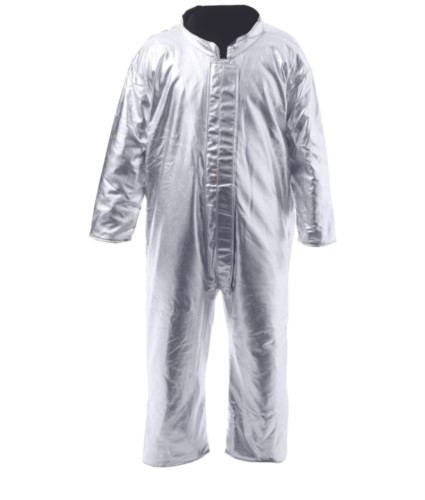 Proximity Coverall, Velcro leg adjustment, Velcro fastening, Korean collar, silver colour, certified to EN 11612:2009