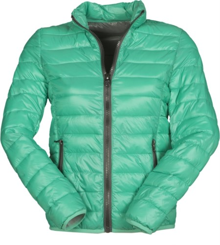 Padded nylon jacket for women with feather effect padding, interior and contrasting finishes. Colour:  green & grey