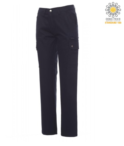 Women trousers with multi pocket and multi-season classic cut. Color blue