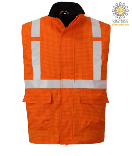 Multifunction vest, waterproof fabric, chemical protection, antistatic, reflective band, orange color. CE certified, EN 1149-5, AS/NZS 4602.1 N/D, UNI EN 20471:2013, EN 13034, UNI EN ISO 14116:2008