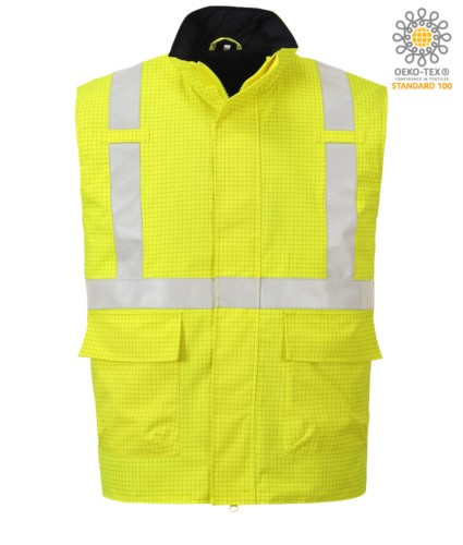 Multifunction vest, waterproof fabric, chemical protection, antistatic, reflective band, yellow color. CE certified, EN 1149-5, AS/NZS 4602.1 N/D, UNI EN 20471:2013, EN 13034, UNI EN ISO 14116:2008