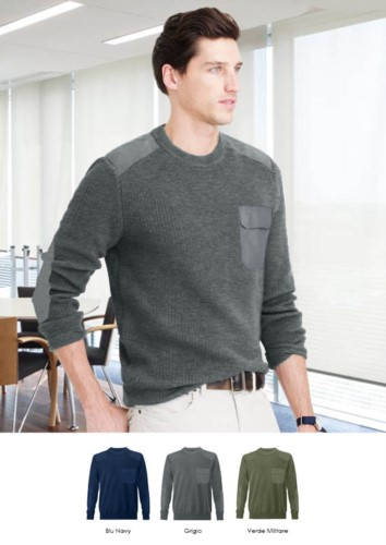 Men crew neck sweater, coarse knit fabric, shoulder and elbow patches, flap pocket, 100% acrylic fabric