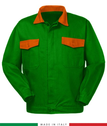 Two tone work jacket, Made in Italy. Two chest pockets. Possibility of customization. Color brignht green/orange