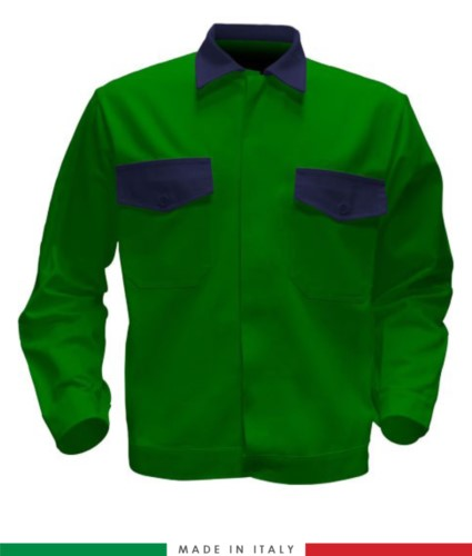 Two tone work jacket, Made in Italy. Two chest pockets. Possibility of customization. Color bright green/ navy blue