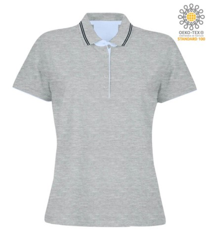 Women short sleeved jersey polo shirt, rib collar and bottom sleeve with double piping, internal neck reinforcement, colour melange grey