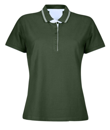 Women short sleeved jersey polo shirt, rib collar and bottom sleeve with double piping, internal neck reinforcement, colour green