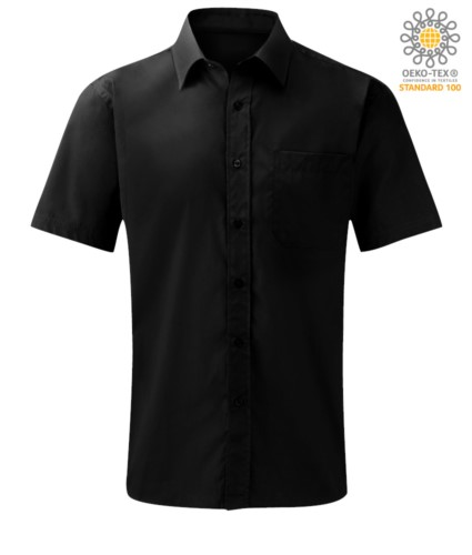 men short sleeved shirt polyester and cotton Black color