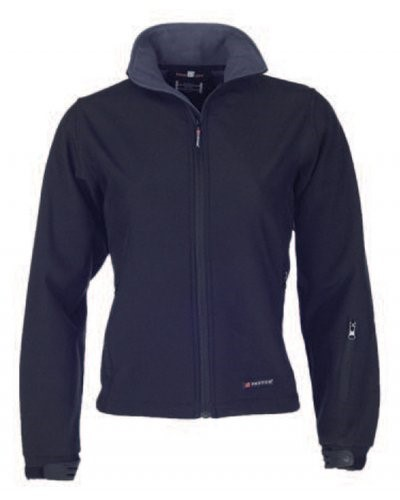 Women softshell jacket, microfleece lining, worn-out cut, two external pockets, adjustable cuffs, color blue