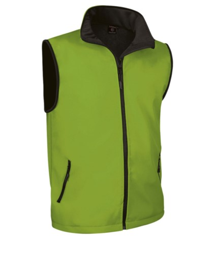 soft shell vest with long zip in polyamide and elastane and microfleece lining. Colour:Green