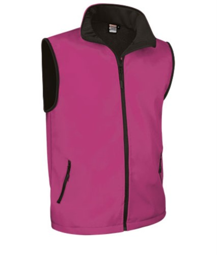 soft shell vest with long zip in polyamide and elastane and microfleece lining. Colour: fuxia