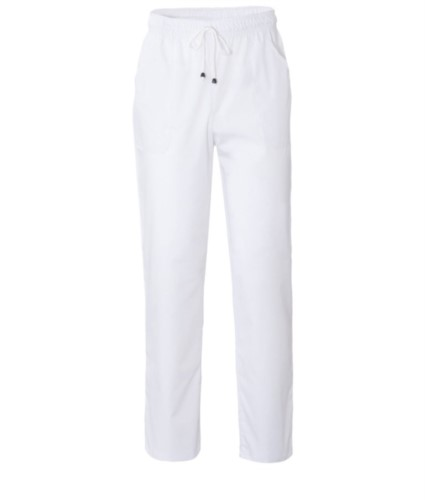Trousers with contrasting two tone details on the pockets. Colour: white