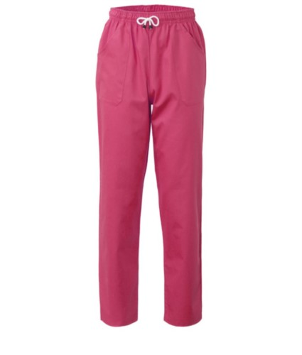 Trousers with contrasting two tone details on the pockets. Colour: fuchsia