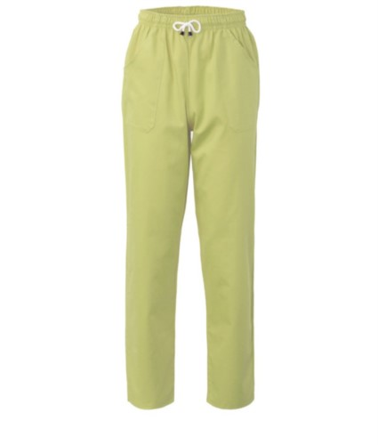 Trousers with contrasting two tone details on the pockets. Colour: acid green