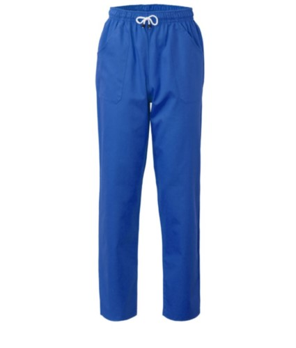 Trousers with contrasting two tone details on the pockets. Colour: bluette