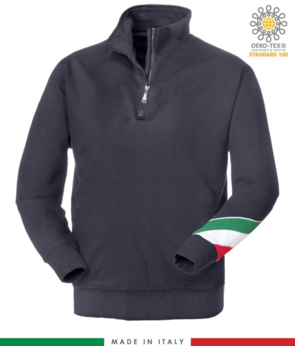 work sweatshirt with short zip made in Italy wholesale blue color with italian flag