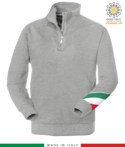 work sweatshirt with short zip made in Italy wholesale Melange Grey color with italian flag