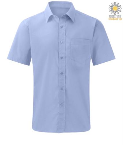 men short sleeve shirt for work uniform color light blue