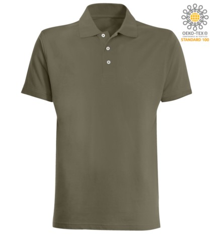 Short sleeved polo shirt in military green jersey
