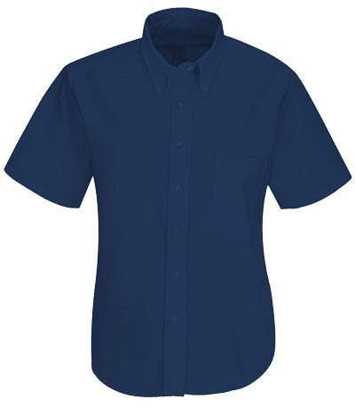 women shirt uniform button down short tip Blue color