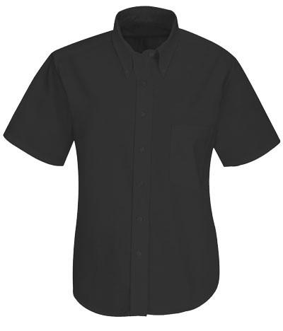 women shirt uniform button down short tip Black color