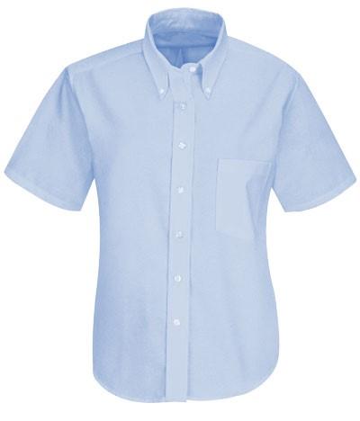 women shirt uniform button down short tip Oxford Blue color