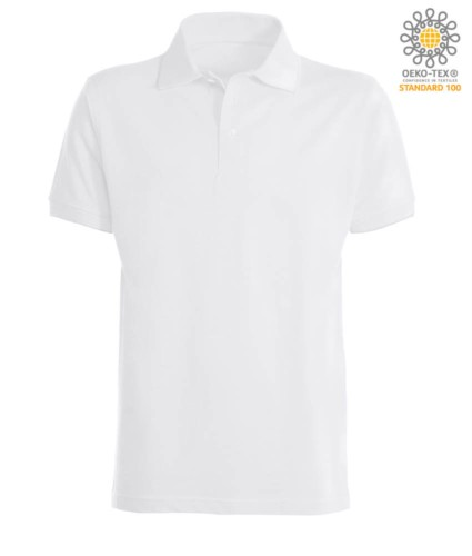 Short sleeve polo shirt with ribbed cotton sleeve bottoms. Color white