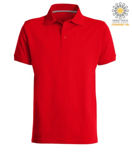 Short sleeved polo shirt with three buttons closure, 100% cotton, red colour